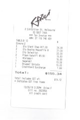 Receipt for lunch with Mary Norris at Gazi.