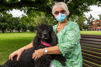 Angela Kraushaar with her dog, Bella.
