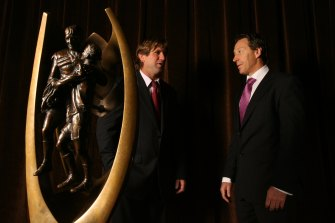 Des Hasler and Craig Bellamy before the 2008 grand final.