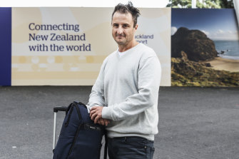 Australian Tim Byrnes at Auckland Airport before travelling on to Russia.