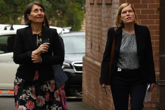 NSW Premier Gladys Berejiklian (left) and NSW Chief Health Officer Dr Kerry Chant (right) during a visit at Homebush Boys High School on Tuesday.