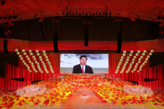 China's President Xi Jinping appeared on a huge screen at the Gala.