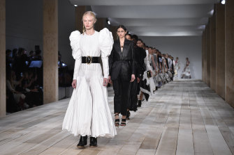 Models walk the runway during the Alexander McQueen Womenswear Spring/Summer 2020 show as part of Paris Fashion Week on September 30, 2019.