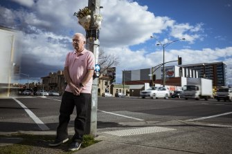 Daryl Kennedy at the intersection where his mother Rosemary Kennedy was fatally struck by a car.