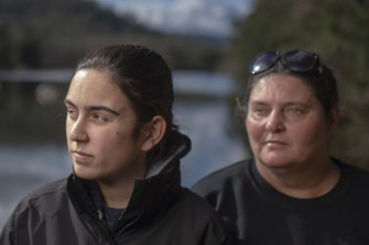 Gundungurra traditional owners Kazan Brown (right) and her daughter Taylor Clarke, on land that would be inundated by floodwater at Burnt Flat by the raising of the Warragamba Dam wall.