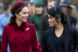 Catherine, Duchess of Cambridge and Meghan, Duchess of Sussex attend the Christmas Day church service at Sandringham in 2018.
