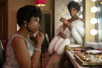Jennifer Hudson stars as Aretha Franklin and Mary J. Blige as Dinah Washington in a scene from Respect.