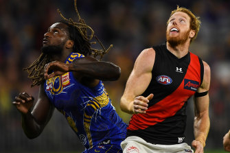 Andrew Phillips (right) battles West Coast's Nic Naitanui earlier this season.