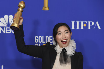 Awkwafina wins the Golden Globe for her work on The Farewell.