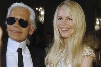 Karl Lagerfeld and Claudia Schiffer during Marie Claire's IV Fashion Prizes Party in 2006 in Madrid.
