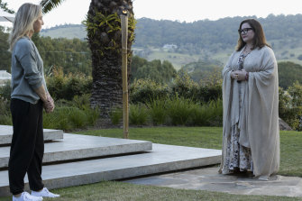 Strangers in paradise: Melissa McCarthy (right) plays a novelist scarred by a recent scandal; Asher Keddie (left) is grieving the death of a child, which has created a chasm in her marriage.