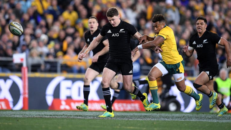 Another click: Beauden Barrett toes the ball ahead for a try after a Wallabies mistake. The All Blacks are masters at exploiting broken-play opportunities.