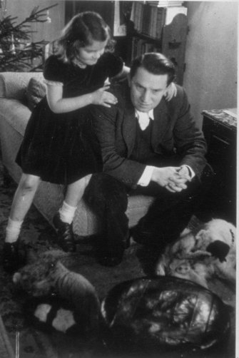 Albright as a young girl with her father, Josef Korbel. She was born in Prague in 1937 but the family fled to the UK during the war.