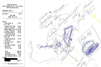 The bill; Blumenthal's notes from lunch.