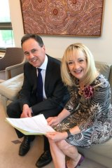 Liberal MP Nola Marino urgedHealth Minister Greg Hunt to take endometriosis seriously. Here they are in November 2017.