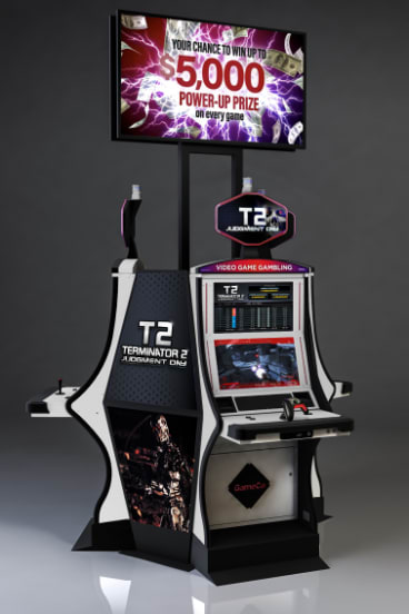 GameCo's new casino game machine, based on the movie <i>Terminator 2</i>, was recently launched at Caesars in Atlantic City.