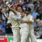 Andrew Flintoff celebrates taking the wicket of Ricky Ponting in England's famous 2-run win in 2005 at Edgbaston.