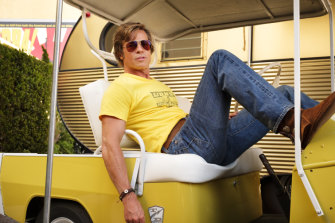 Brad Pitt in character as stunt double Cliff Booth.