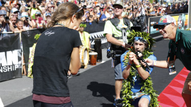 Lange proposed to his girlfriend after crossing the finish line.