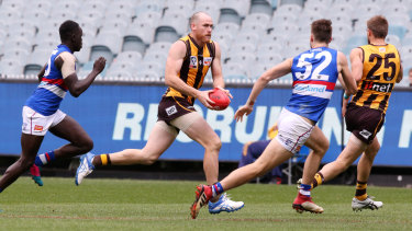On the burst: Jarryd Roughead heads towards goal for Hawthorn in the VFL clash against the Western Bulldogs.