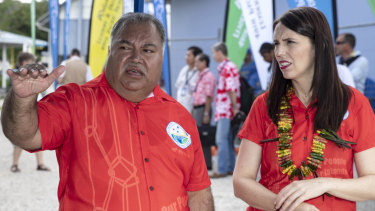 Nauru President Baron Waqa, left, talks with New Zealand Prime Minister Jacinda Ardern at the Pacific Islands Forum in Nauru.