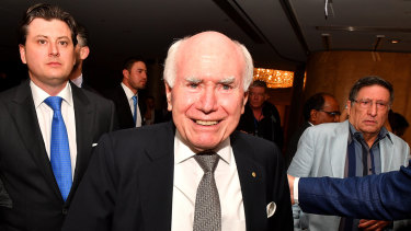 Former Australian Prime Minister John Howard arrives during the count at the Federal Liberal Reception at the Sofitel-Wentworth hotel in Sydney on Saturday night.