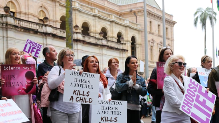 A rally was held in Brisbane against abortion decriminalisation laws.
