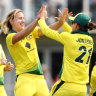 Perry obliterates England as Australia bowl hosts out for a dire 75