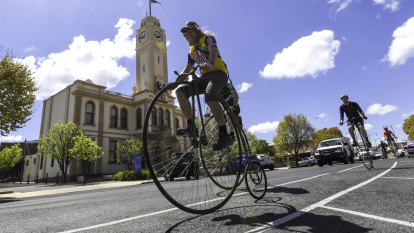 On for young and old as penny-farthing peloton wheels across the west