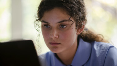 Luca Sardelis as Zoe, the girl at the centre of one of two sexting scandals in The Hunting.