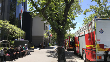 Fire crews outside the Indian consulate on St Kilda Road.