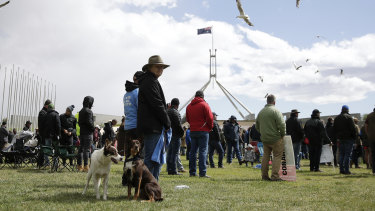 Farmers descended on Canberra on Monday to demand the Murray-Darling Basin Plan be scrapped.