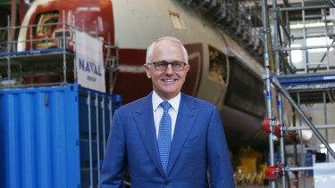 Malcolm Turnbull visits the Cherbourg shipyard as prime minister.