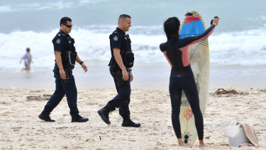 Policing the Gold Coast beaches during the pandemic.