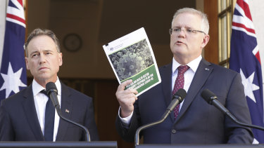 Minister for Health Greg Hunt and Prime Minister Scott Morrison.