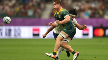 Hooper hit late in Australia's seven-try rout of Uruguay.
