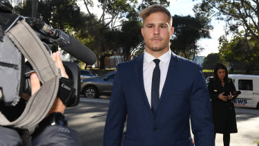 St George Illawarra Dragons player Jack de Belin arrives at Wollongong Local Court on Wednesday.