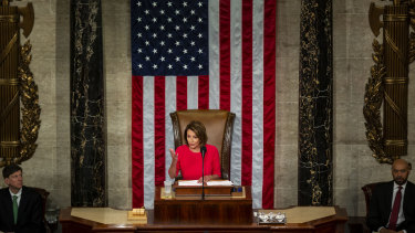 US House Speaker Nancy Pelosi, a Democrat from California, speaks during the opening of Congress.