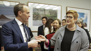 UK Foreign Secretary Dominic Raab with Foreign Minister Marise Payne at Parliament House on Thursday.