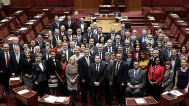 The Senate poses for a photograph during the final sitting fortnight of 2018.