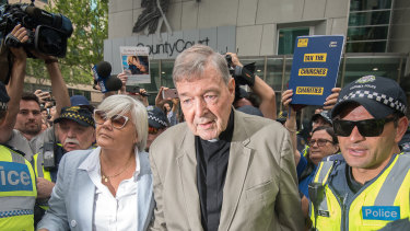 Cardinal George Pell leaving the County Court, where he was found guilty of historical sexual offences.