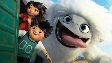 Yi (Chloe Bennet), Peng (Albert Tsai) and Everest the Yeti in  Abominable.