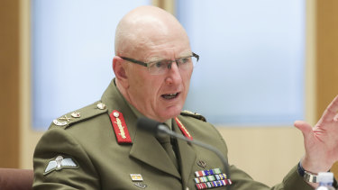 Lieutenant General John Frewen, Commander Defence COVID-19 Task Force, testifies to the Senate.