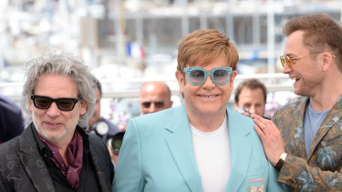 Dexter Fletcher (left), Elton John and Taron Egerton at the Rocketman photo call during the 72nd Cannes Film Festival.