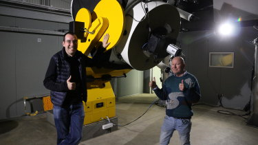 NASA scientist Karsten Schindlerwith UWA Associate Professor David Coward at the Zadko telescope in Gingin ahead of the planned observation of Titan's atmosphere on Wednesday.
