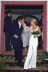 John F. Kennedy Jr., the son of President John F. Kennedy, and Carolyn Bessette on their wedding day in 1996.