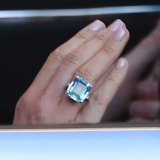 A close up of the ring - and the perfect manicure - worn by the newly married Duchess of Sussex, Meghan Markle.