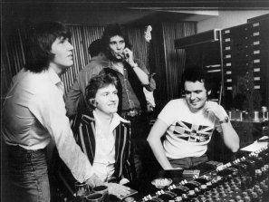 Roger Davies, second from left, with his first big signing, Aussie supergroup Sherbet in 1976.