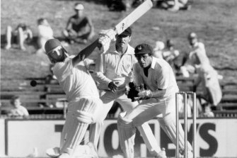 A 19-year-old Steve Waugh hits out in the Shield final against Queensland. He made 71 in the first innings.