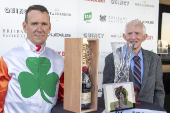 Sweet: Glenn Colless, left, and Barry Squair, right, celebrate a win with Love You Lucy.